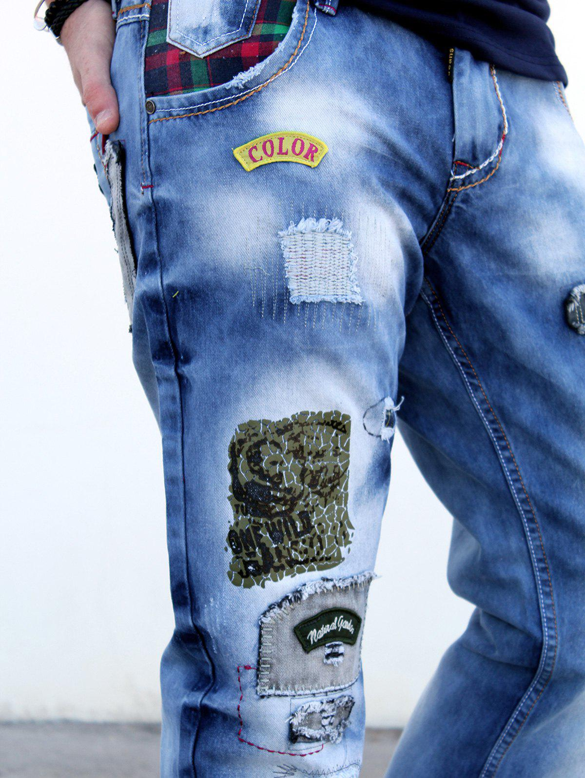 Zip Fly Patch Design Distressed Straight Denim Pants - BLUE 36