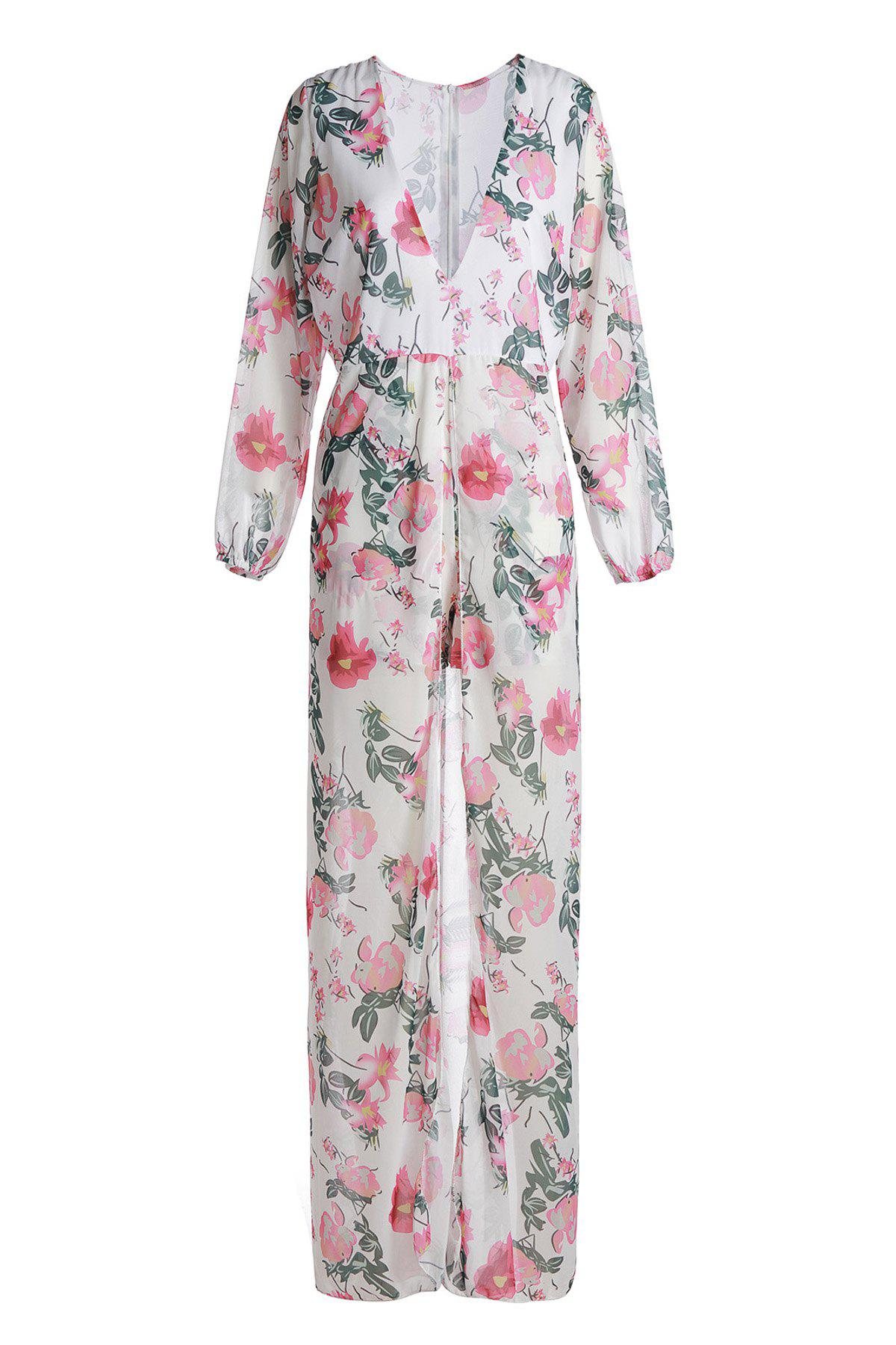 Trendy Multicolored Floral Printed Plunging Neck High Low Romper For Women - WHITE 2XL