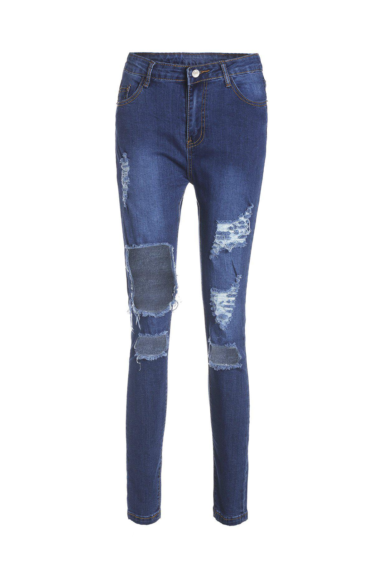 Chic High-Waisted Bodycon Hole Design Women's Jeans - BLUE M