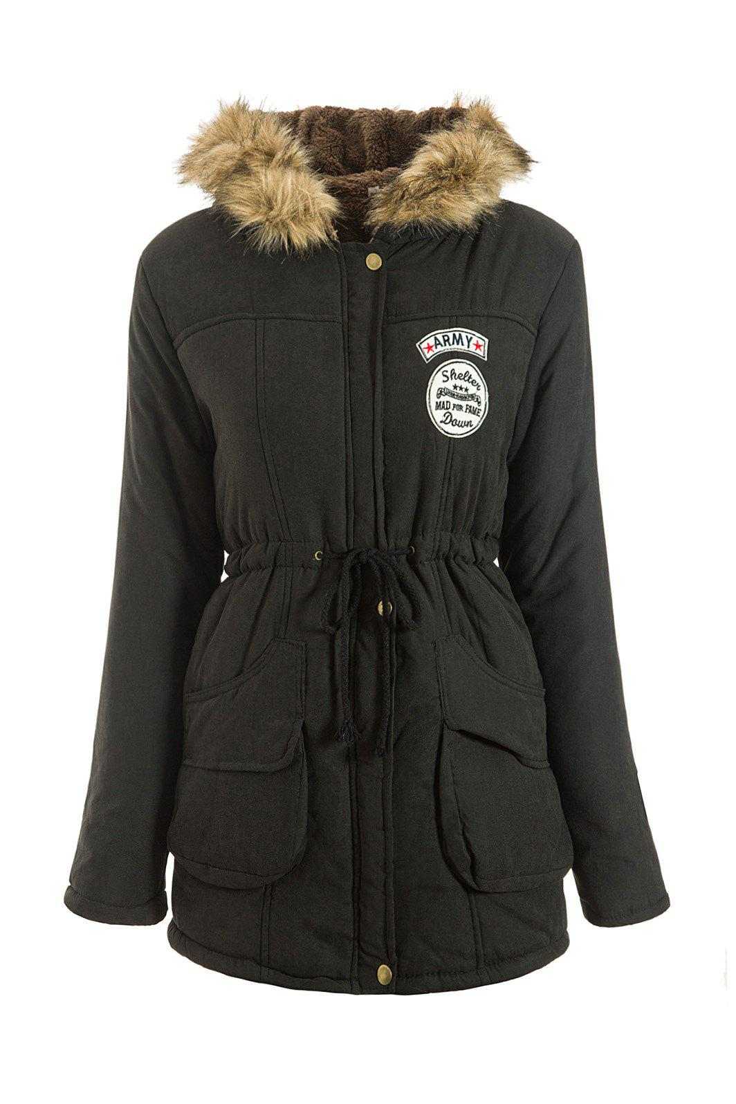 Preppy Style Faux Fur Hooded Drawstring Design Embroidered Fleece Coat For Women - BLACK XL