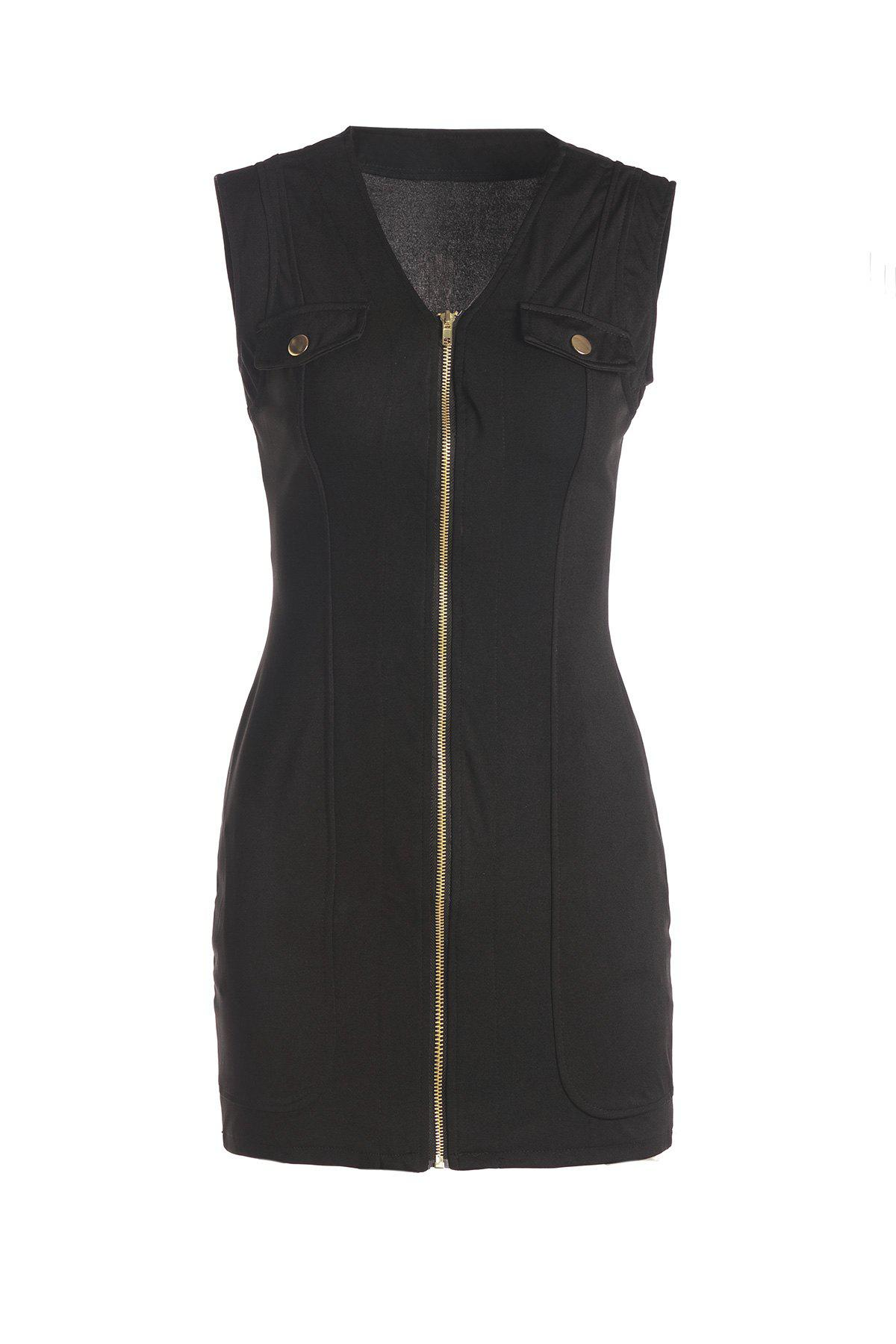 Sexy Plunging Neck Sleeveless Zip Up Women's Black Mini Dress - BLACK ONE SIZE(FIT SIZE XS TO M)