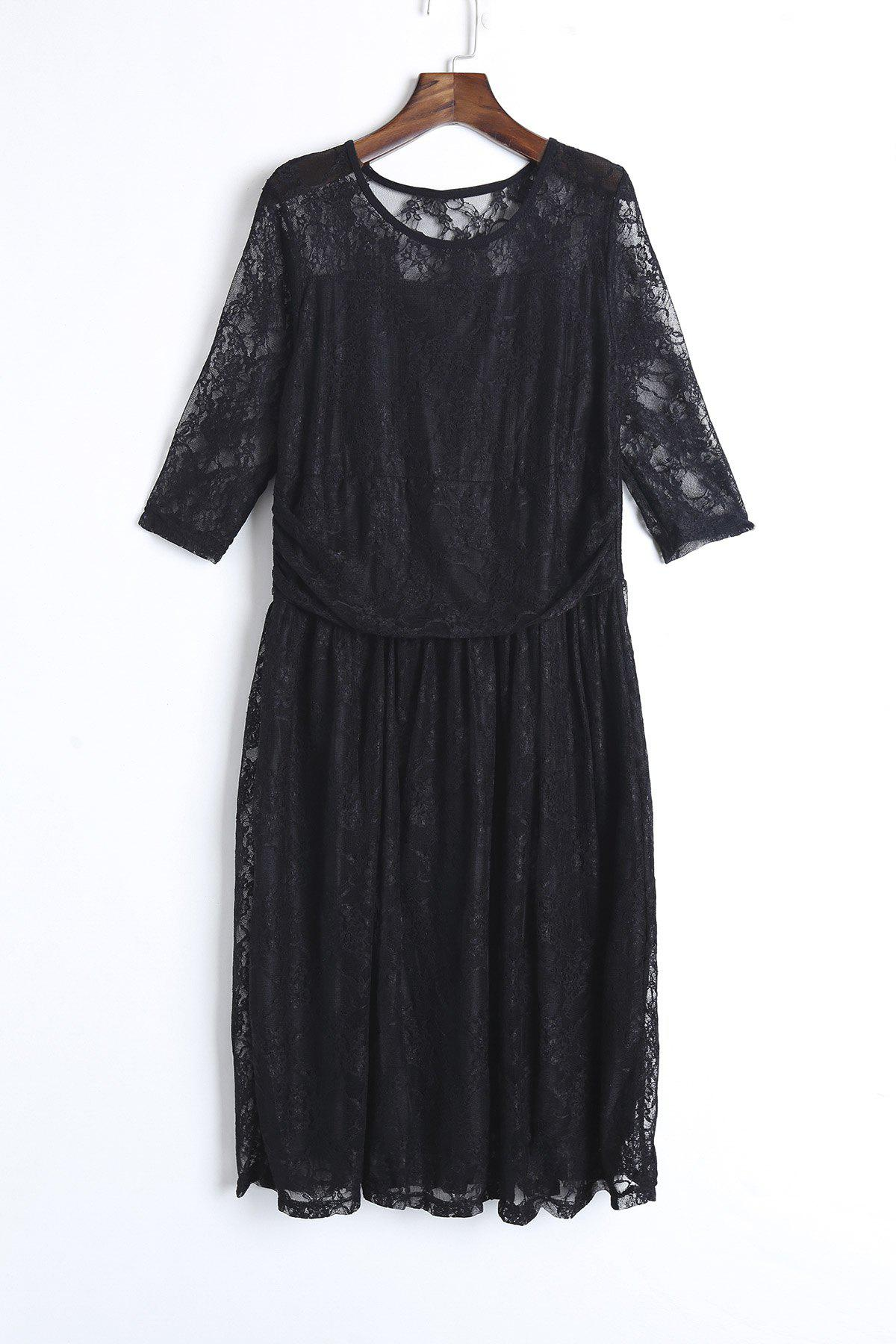 Elegant Solid Color Jewel Neck Half Sleeve Pleated Lace Dress For Women - BLACK 2XL