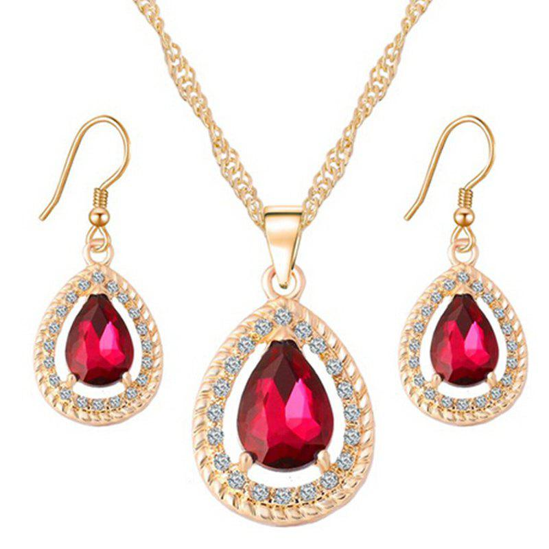 A Suit of Water Drop Rhinestone Faux Gem Necklace and Earrings - RED