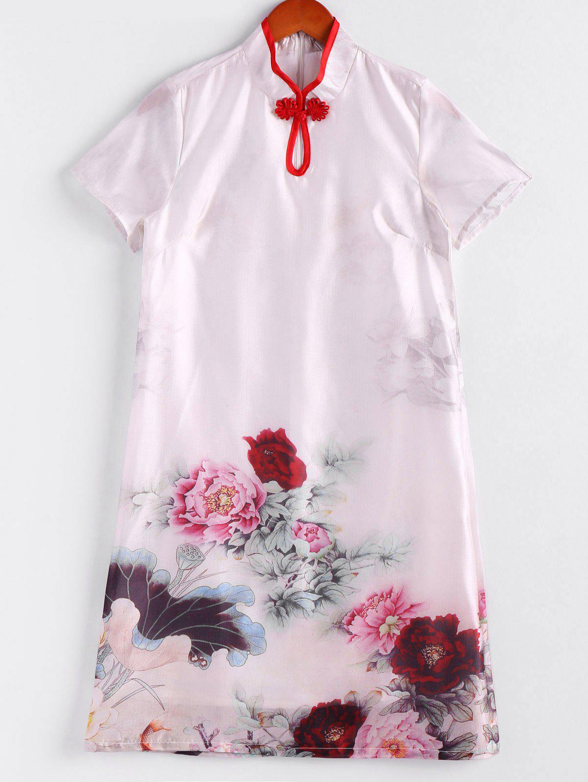 Elegant Floral Mandarin Collar Short Sleeve Women's Dress - WHITE S