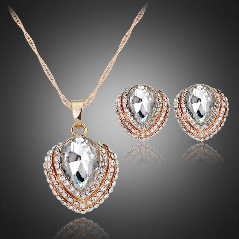 A Suit of Hollow Out Rhinestone Necklace and Earrings - WHITE