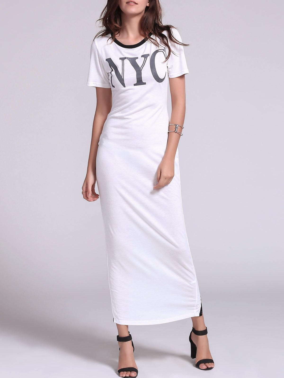 Stylish Split Hollow Out Short Sleeve Dress For Women - WHITE L