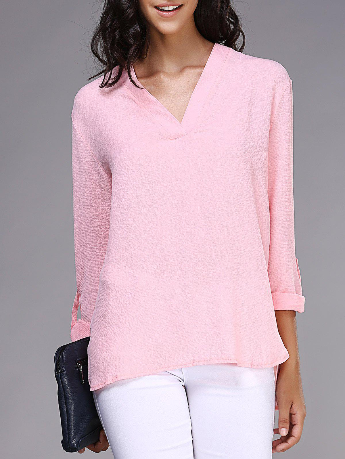 Stylish V-Neck Long Sleeve Loose Pink Chiffon Blouse For Women - PINK XL