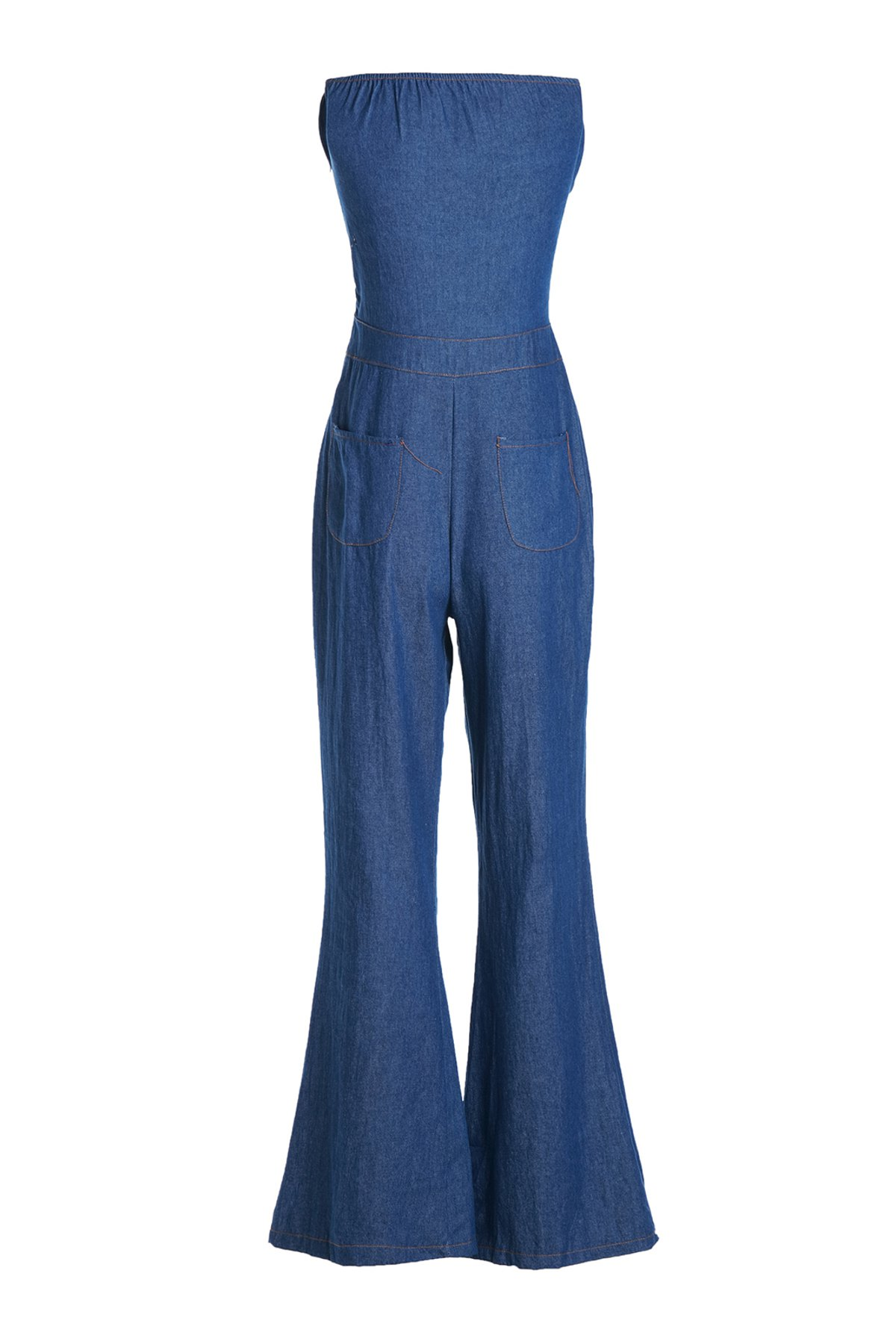 Casual Women's Strappy Denim Wide Leg Jumpsuit - DEEP BLUE S