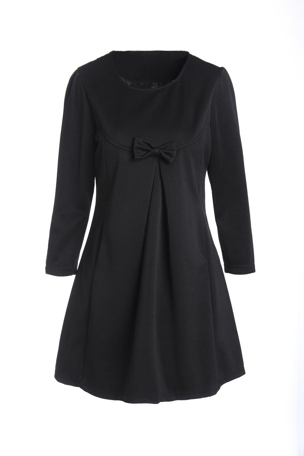 Chic Bowknot Design Solid Color Round Neck 3/4 Sleeve Women's Dress - BLACK 4XL