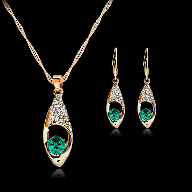 A Suit of Rhinestoned Water Drop Necklace and Earrings - GREEN