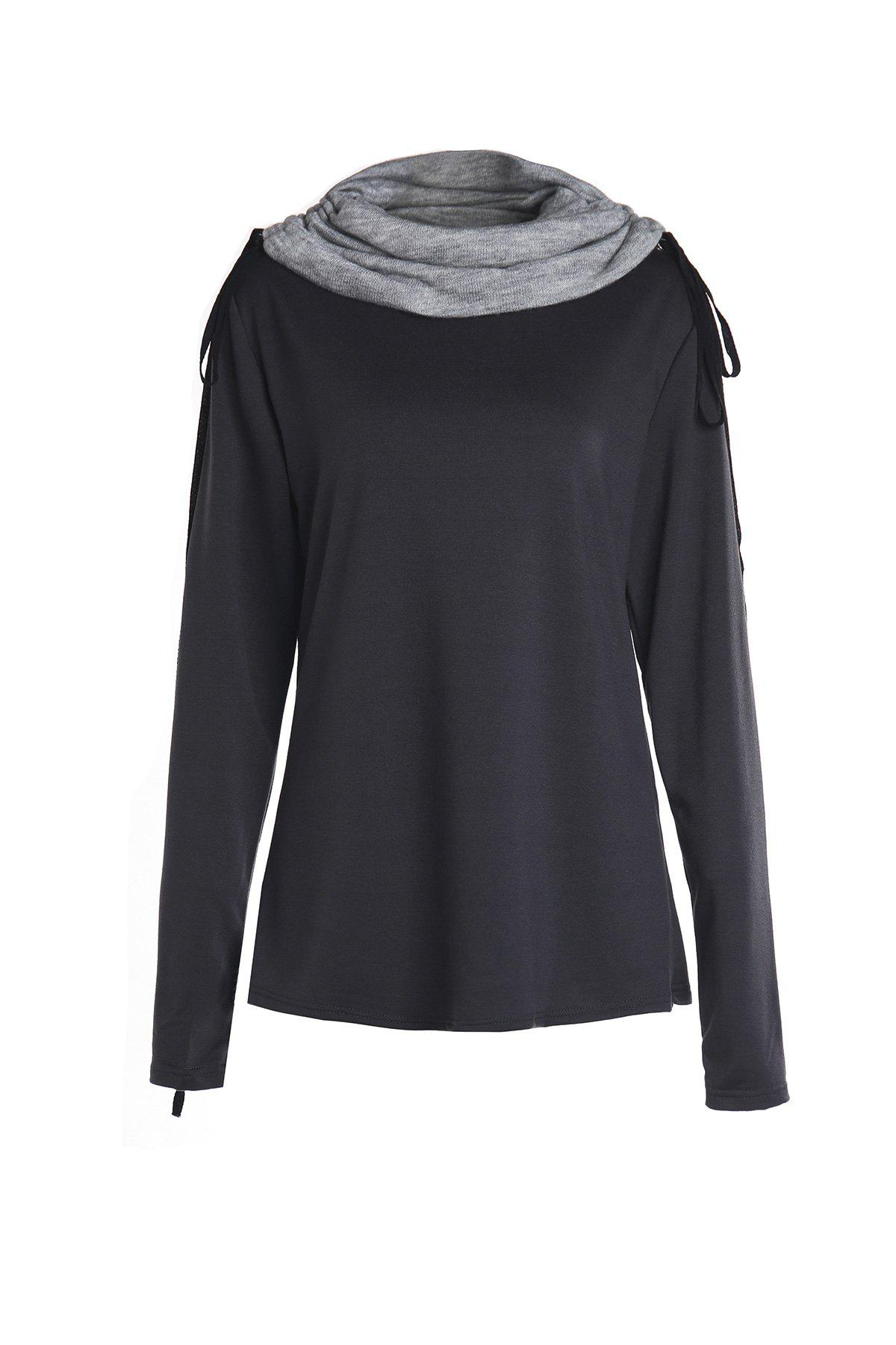 Chic Long Sleeve Turtle Neck Spliced Women's Sweatshirt - BLACK S