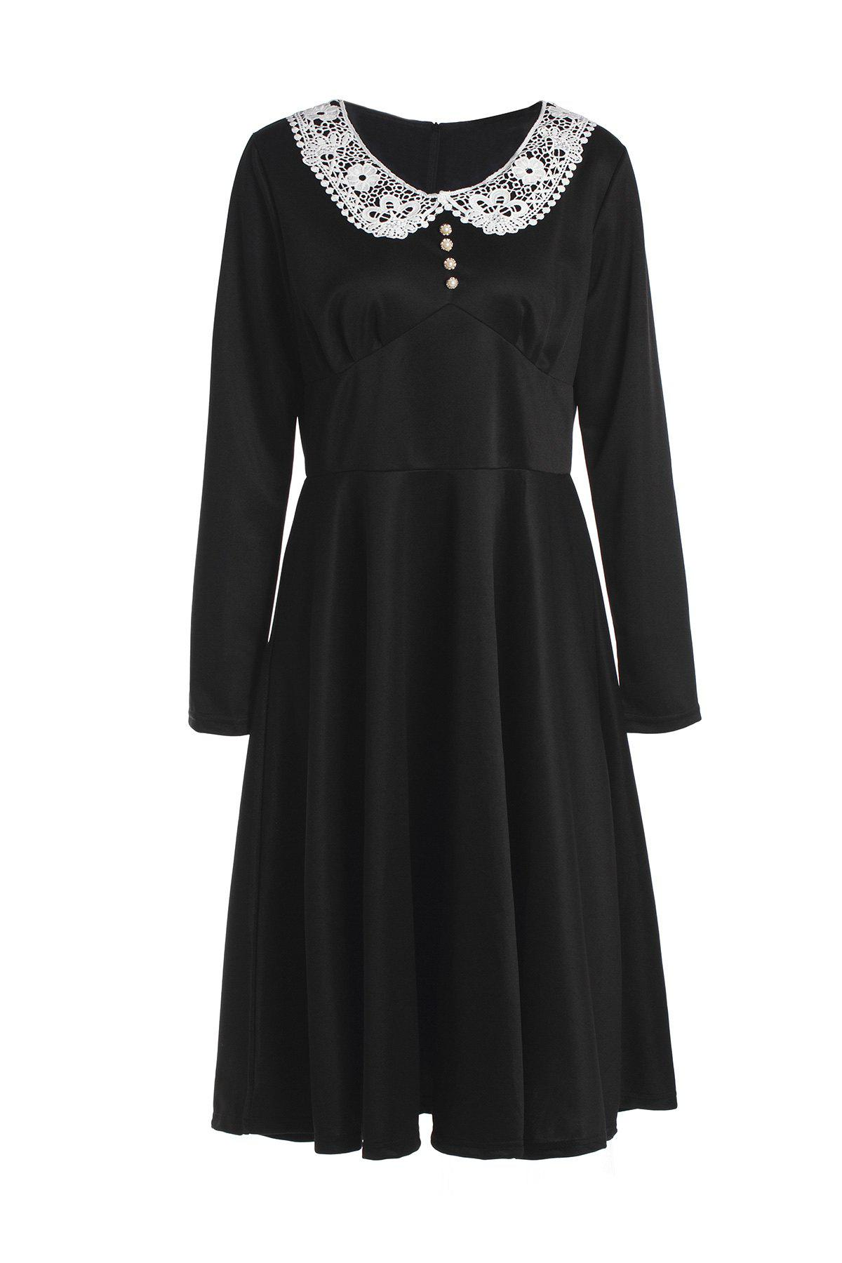 Noble Long Sleeve Peter Pan Collar Lace Spliced Women's Dress - BLACK M