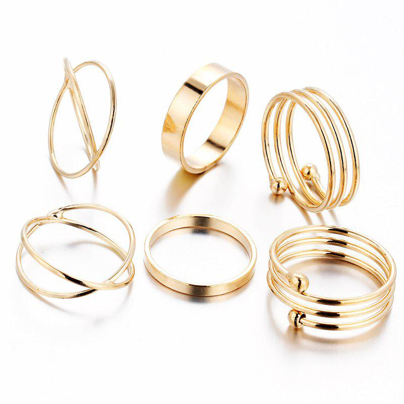 A Suit of Alloy Hollow Out Rings - GOLDEN ONE-SIZE