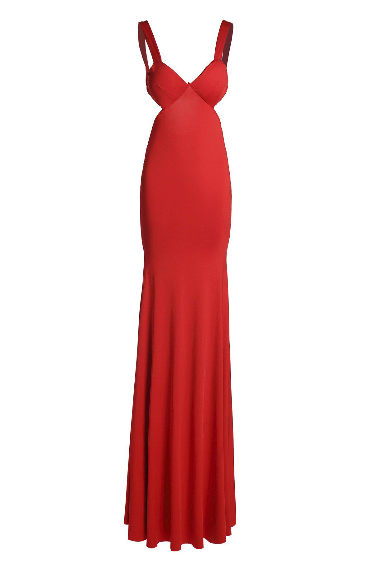 Women's Cut Out Halter Candy Color Mermaid Dress - RED S