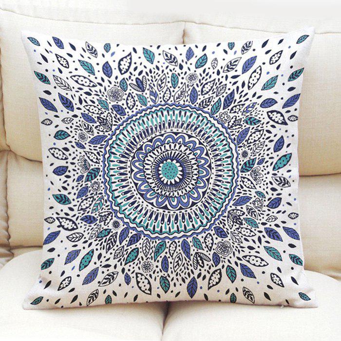 Ethnic Style Abstract Floral Pattern Flax Square Shape Pillowcase (Without Pillow Inner) - COLORMIX