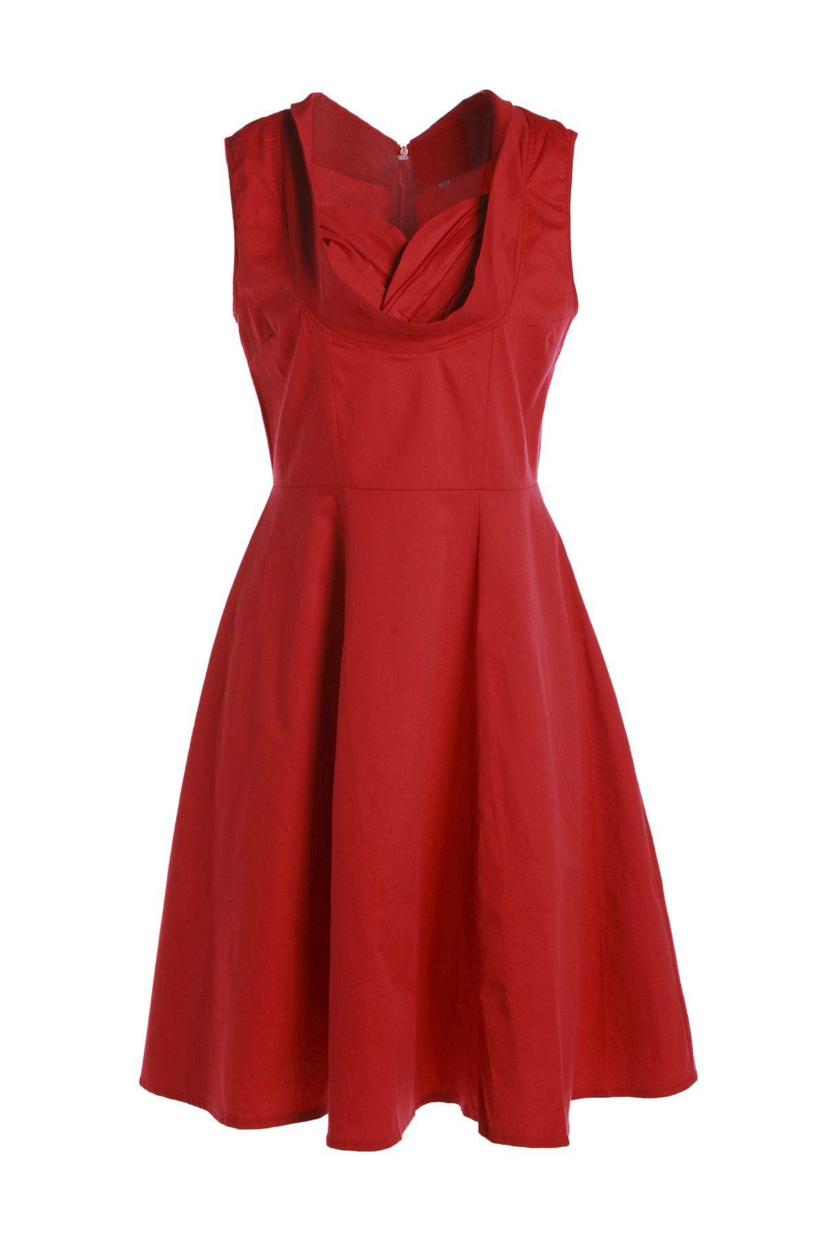 Vintage Sweetheart Neck Sleeveless Ball Gown Solid Color Women's Dress - RED L