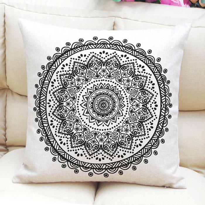 Ethnic Style Floral Pattern Flax Square Shape Pillowcase (Without Pillow Inner) - WHITE/BLACK