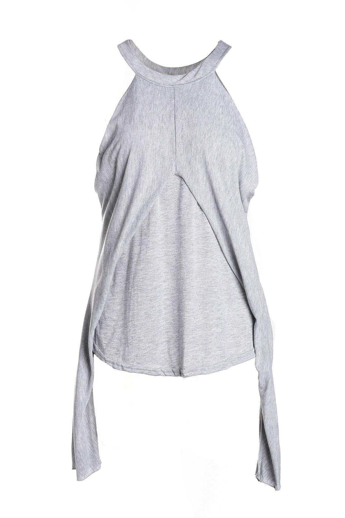 Stylish Round Neck Long Sleeve Off-The-Shoulder Womens T-ShirtWomen<br><br><br>Size: ONE SIZE(FIT SIZE XS TO M)<br>Color: GRAY