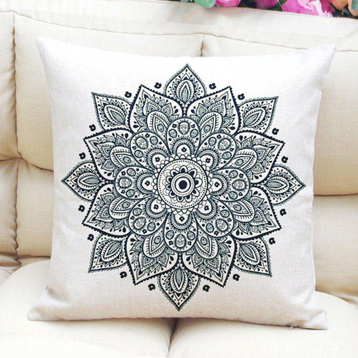 Ethnic Style Abstract Lotus Flower Pattern Flax Square Shape Pillowcase (Without Pillow Inner)