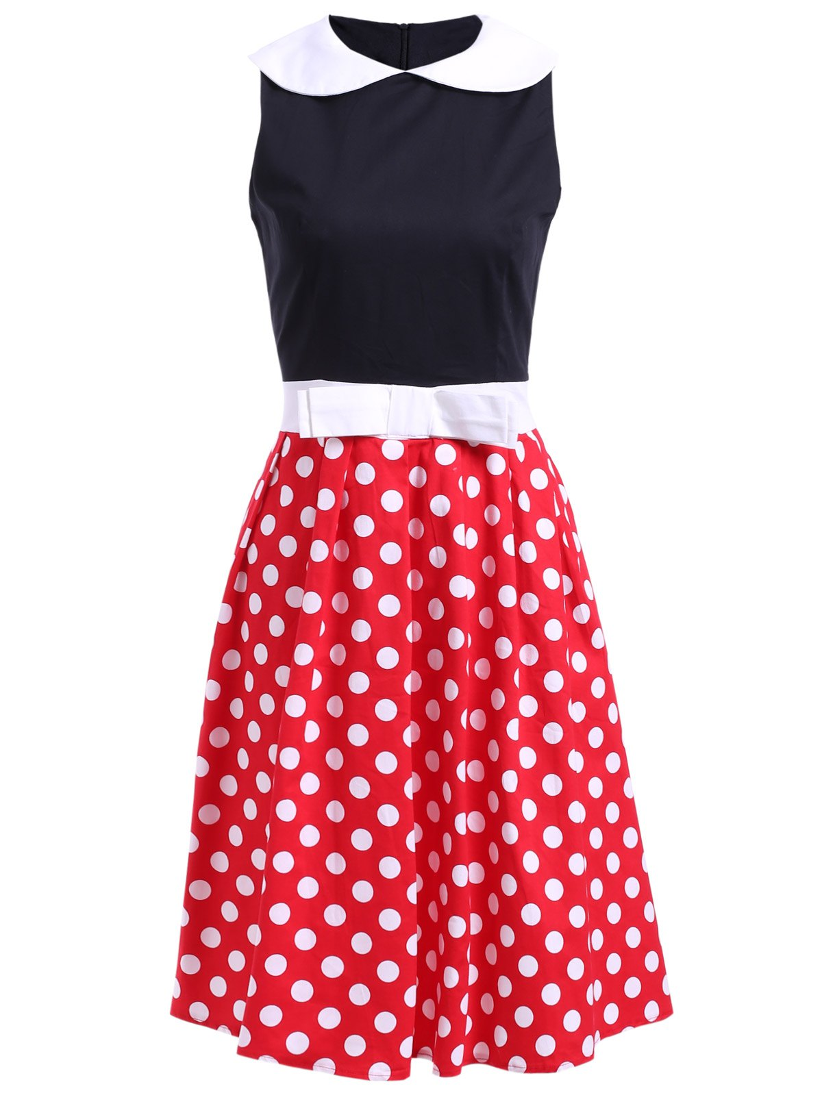 Sweet Sleeveless Peter Pan Collar Bowknot Embellished Polka Dot Women's Dress - BLACK 2XL
