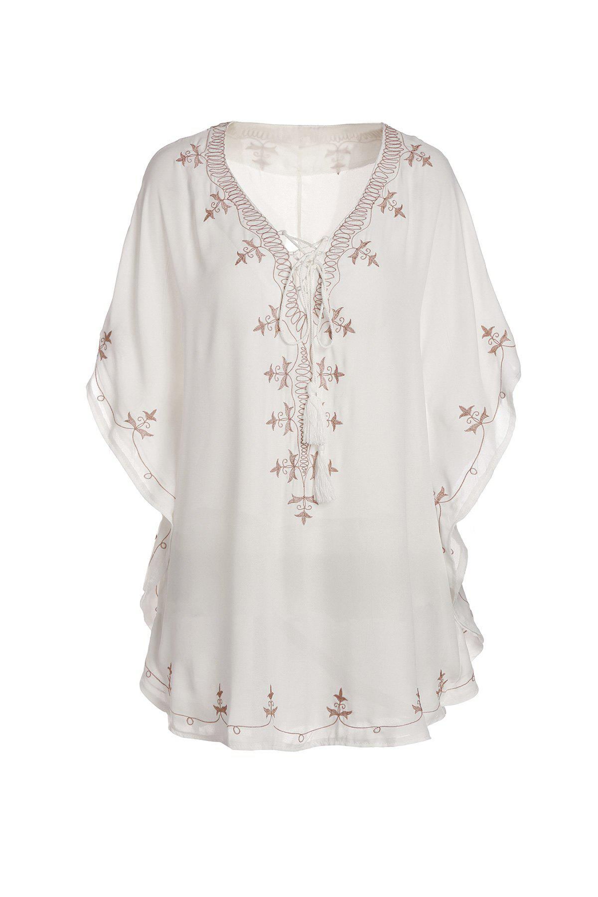 Stylish Women's V-Neck Half Sleeve Embroidered Cover-Up - WHITE ONE SIZE(FIT SIZE XS TO M)