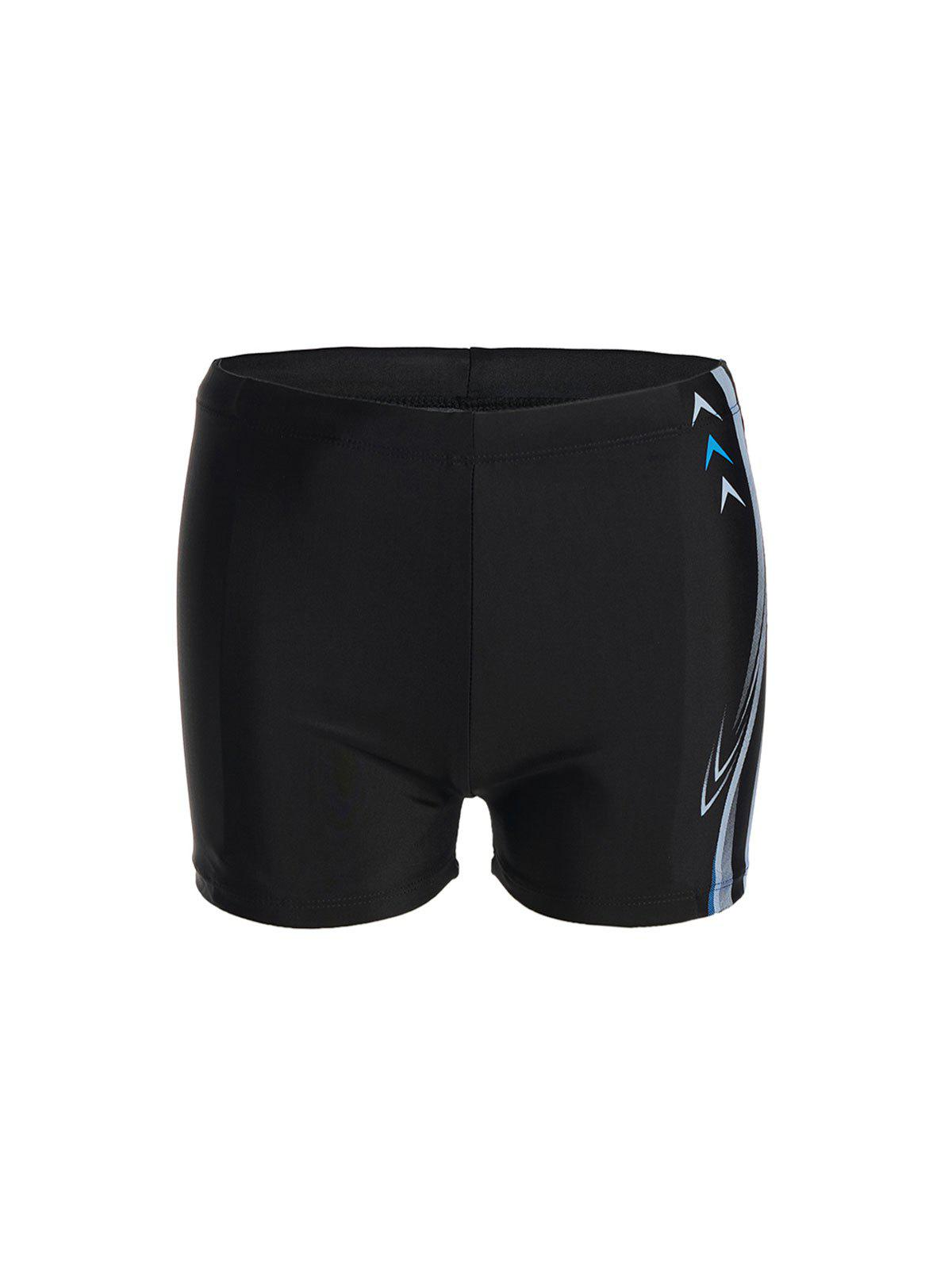 Fashion Arrow and Letter Print Waterproof Quick-Dry Men's Lace-Up Polyester+Spandex Boxers Swimming Trunks - BLACK 3XL
