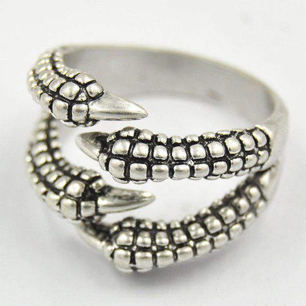 Punk Carving Dragon Claw Opening Ring For Women - SILVER ONE-SIZE
