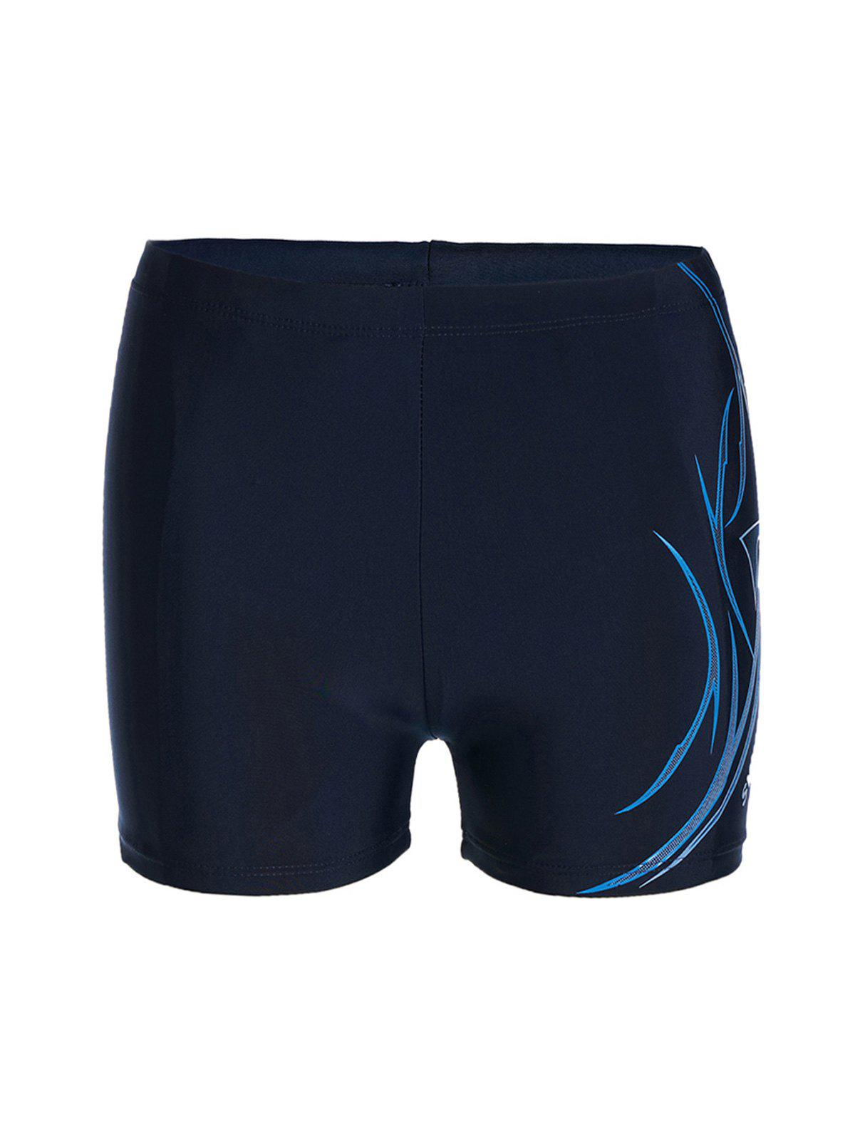 Trendy Lace-Up Quick-Dry Totem and Letter Print Men's Polyester+Spandex Boxers Swimming Trunks - BLUE L