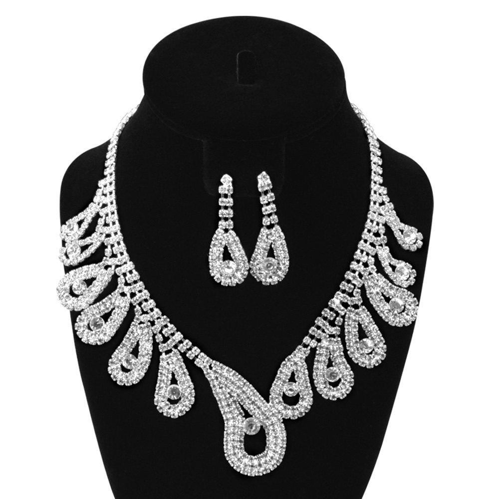 A Suit of Rhinestone Water Drop Necklace Bracelet Ring Earrings - SILVER