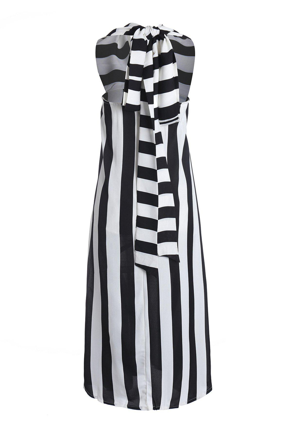 Sexy Style Plunging Neck Sleeveless Striped Women's Maxi Dress - WHITE/BLACK S