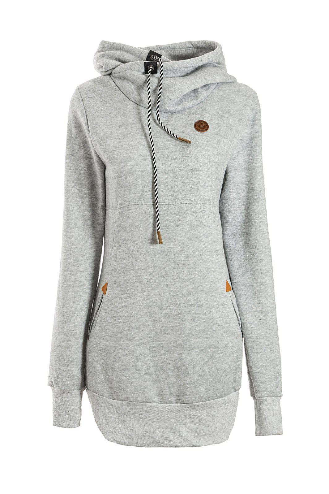 Women's Chic Solid Color Long Sleeve Hooded Hoodie hooded solid color long sleeve hoodie for men