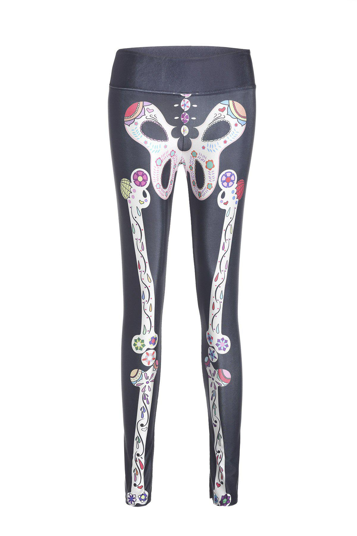 Active Skeleton Print High Stretchy Women's Yoga Pants - COLORMIX