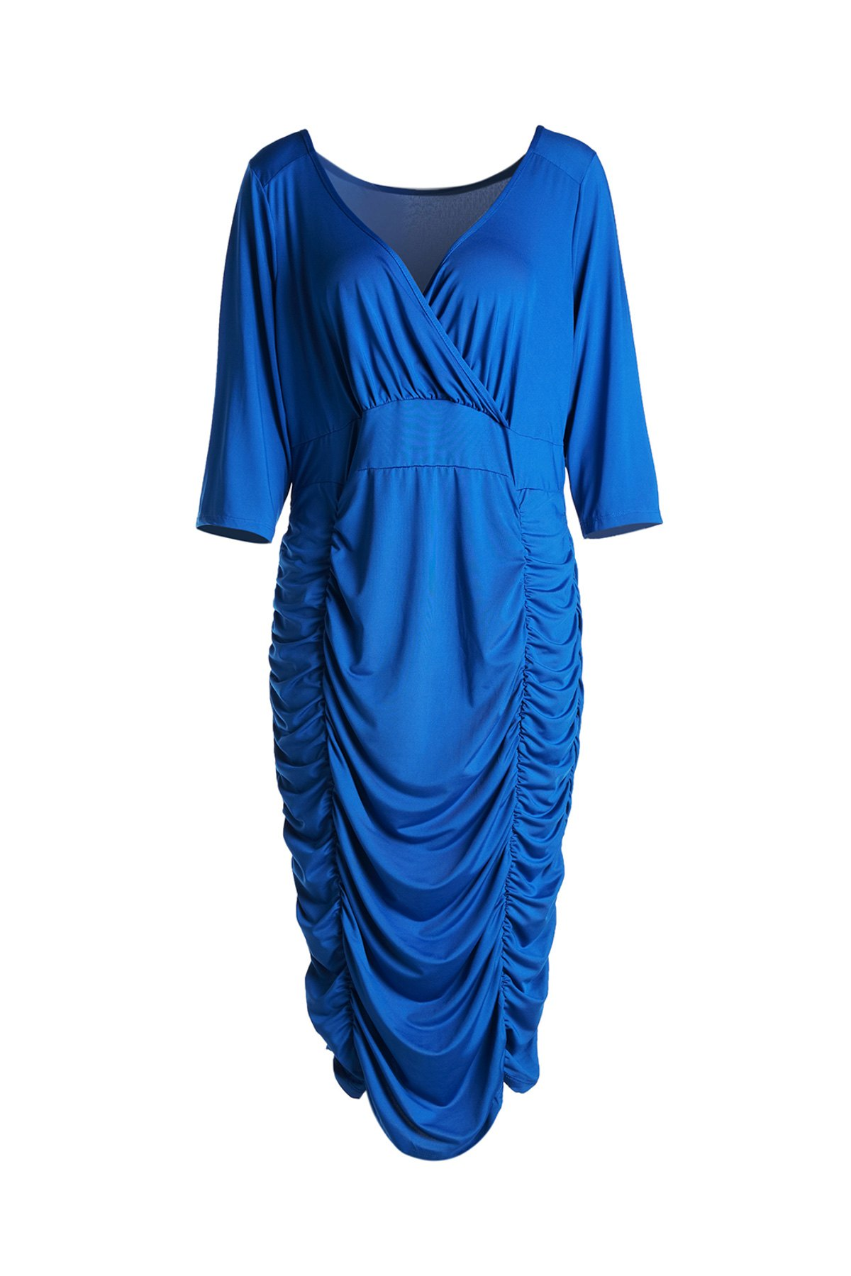 Sexy Solid Color V-Neck 3/4 Sleeve Bodycon Ruched Midi Dress For WomenWomen<br><br><br>Size: 2XL<br>Color: BLUE