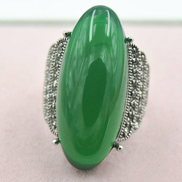 Elegant Artificial Jade Embossed Ring For Women - ONE-SIZE DEEP GREEN