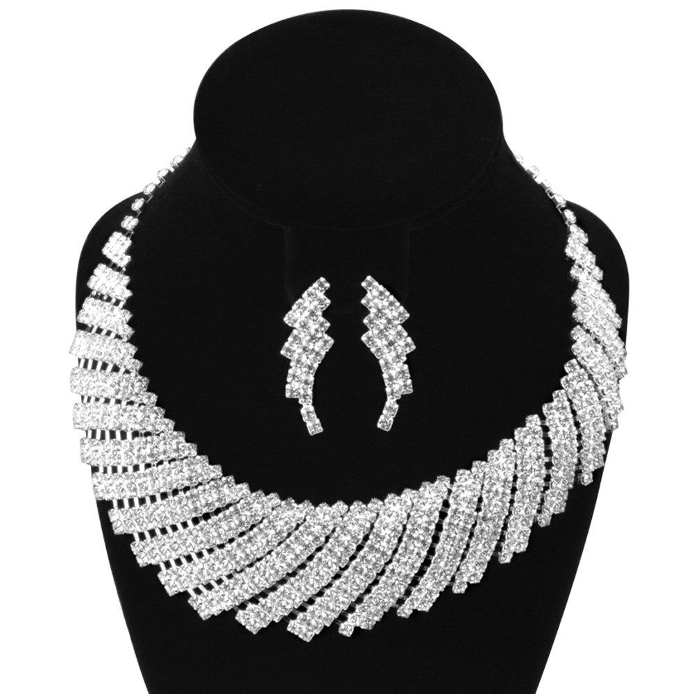 A Suit of Gorgeous Geometric Rhinestone Necklace and Earrings