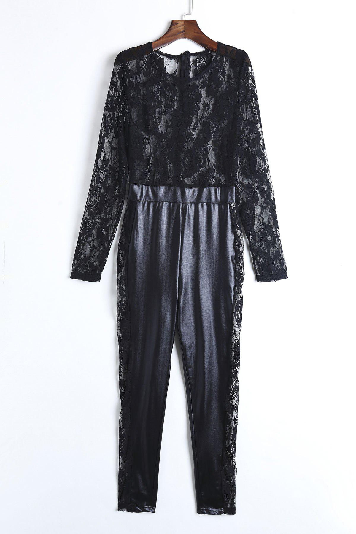 Sexy Women's Round Neck Lace Spliced PU Leather Long Sleeve Jumpsuit - BLACK XL