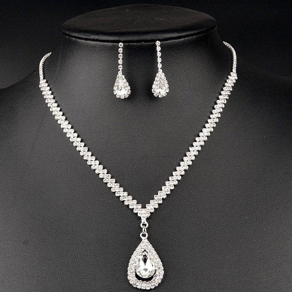 Water Drop Rhinestoned Necklace and Earrings - SILVER
