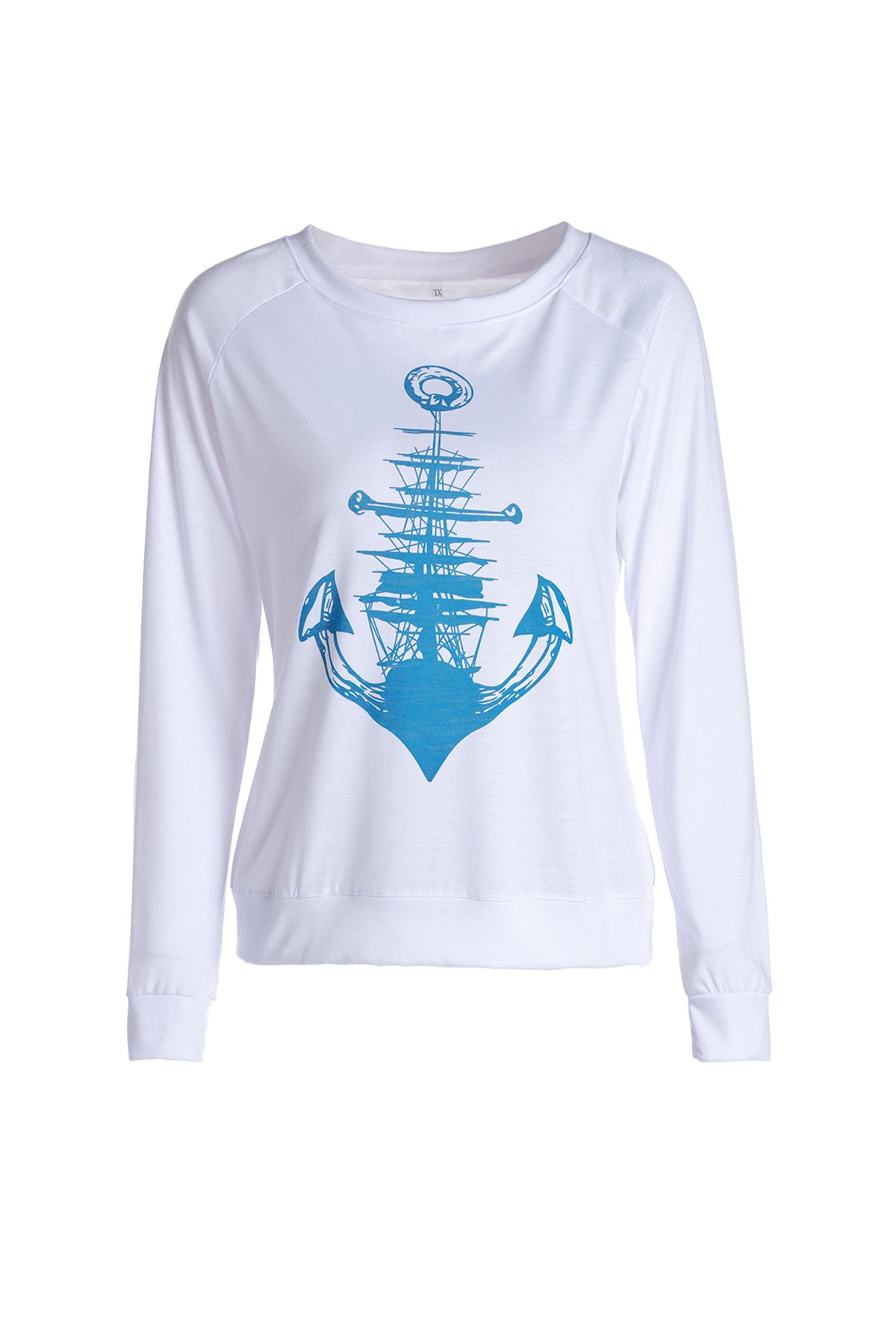 Image of Stylish Long Sleeve Anchor Printed Raglan Baseball T-Shirt For Women