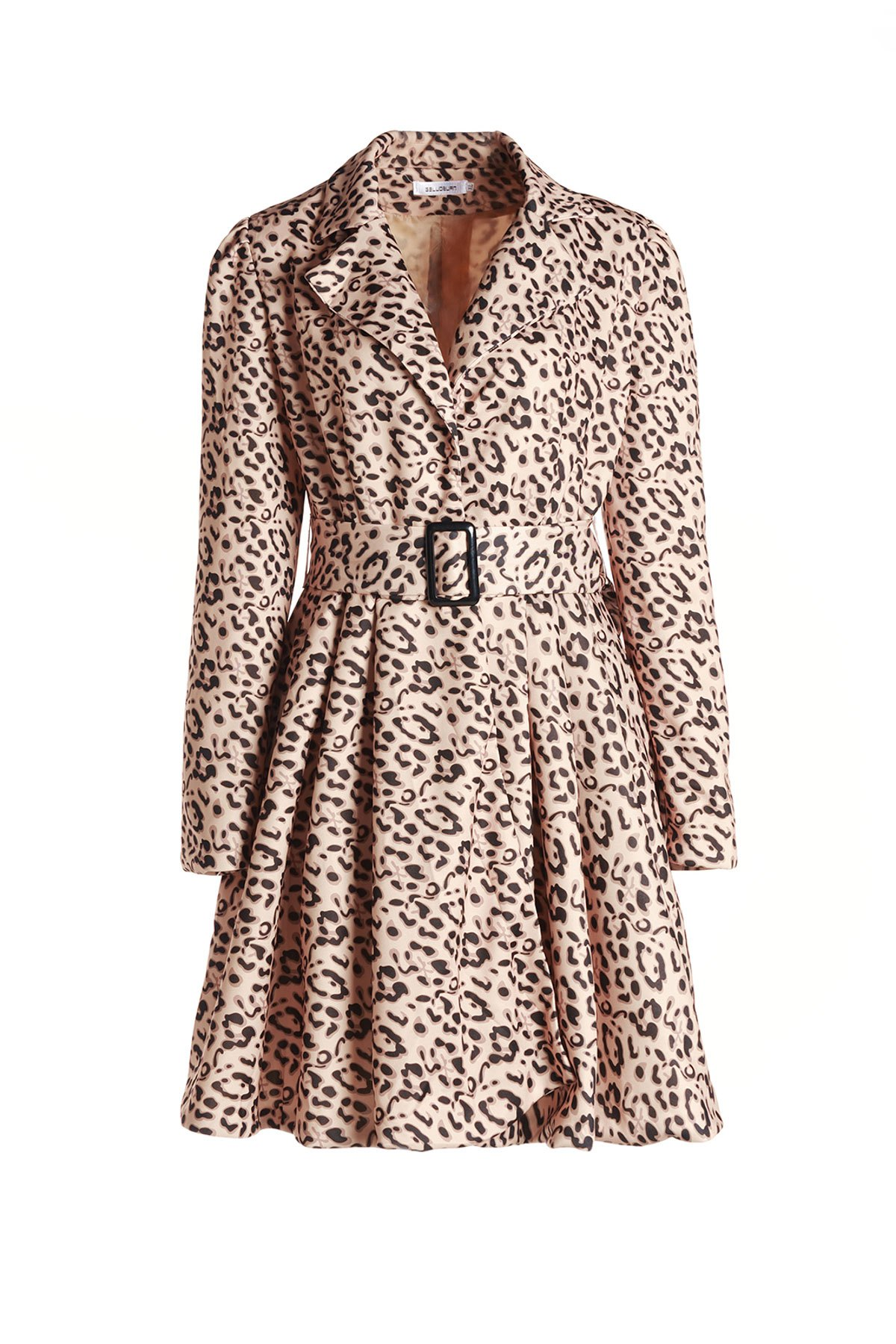 Stylish Long Sleeve Turn-Down Collar Leopard Print Belted Women's Coat - YELLOW XL