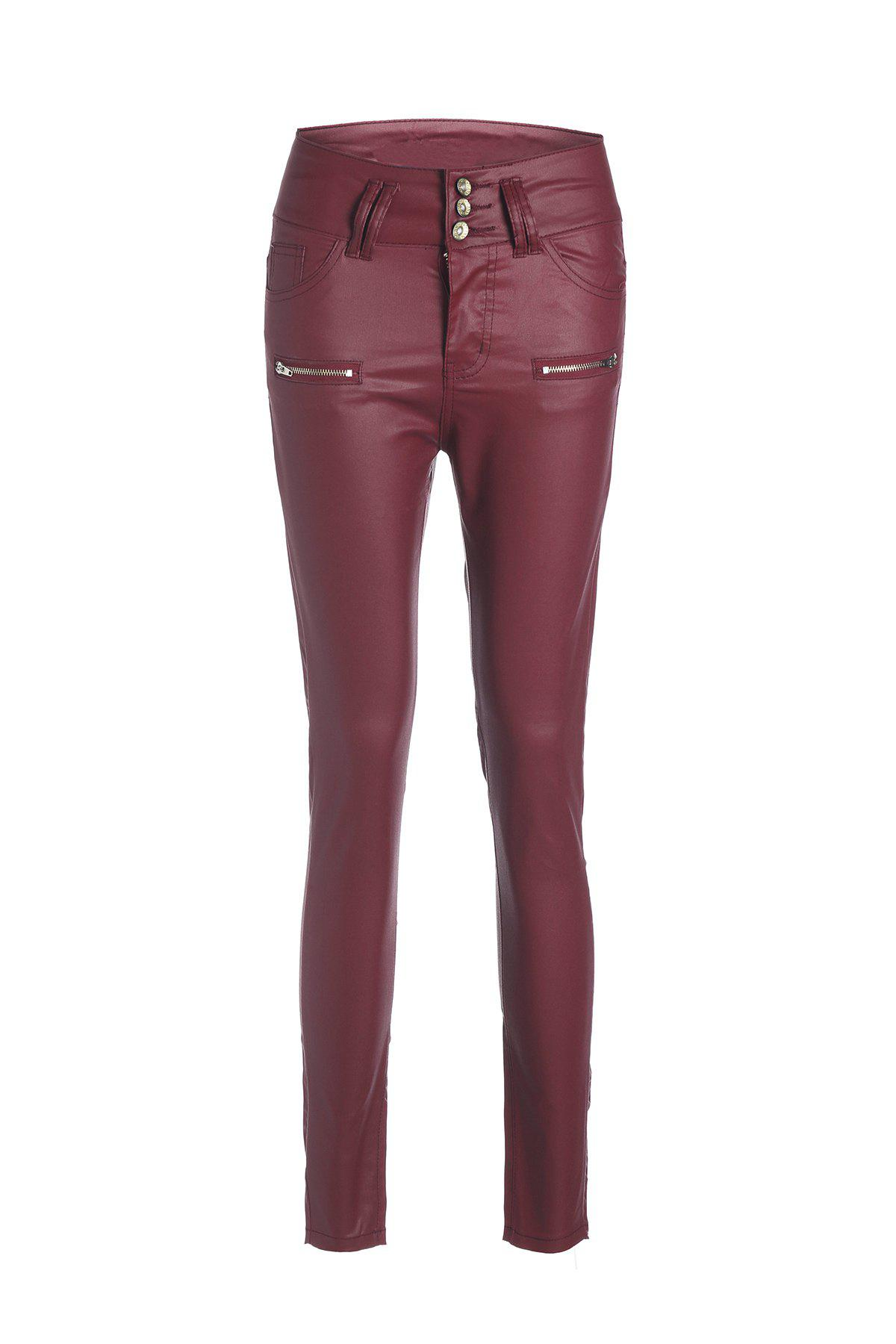 Stylish High Waist Button Design Slimming Women's PU Pants - WINE RED M