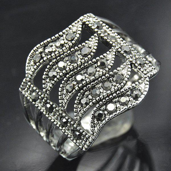 Punk Rhinestone Hollowed Wave Ring - SILVER ONE-SIZE