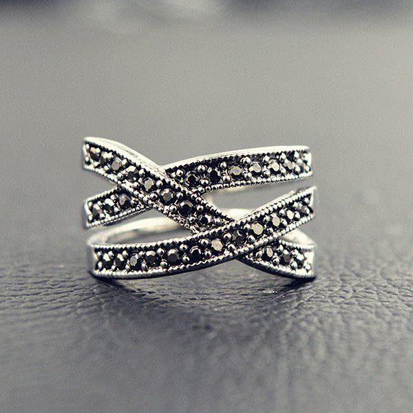 Hollow Out Rhinestone Crossed Ring - SILVER ONE-SIZE