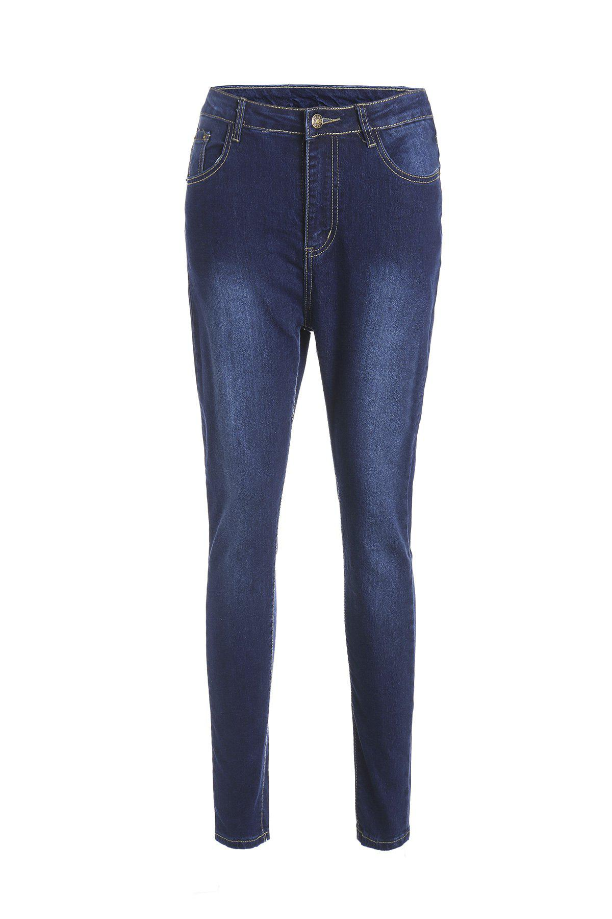 Stylish Pocket Design Solid Color High-Waisted Women's Jeans - DEEP BLUE XL