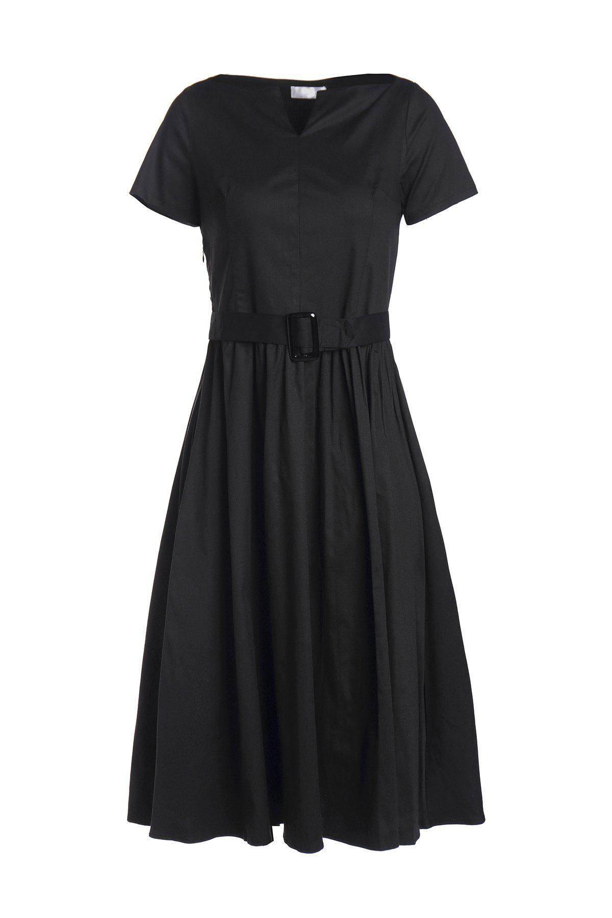 Retro Style V Neck Short Sleeve Solid Color Belted Women's Ball Gown Dress - BLACK M