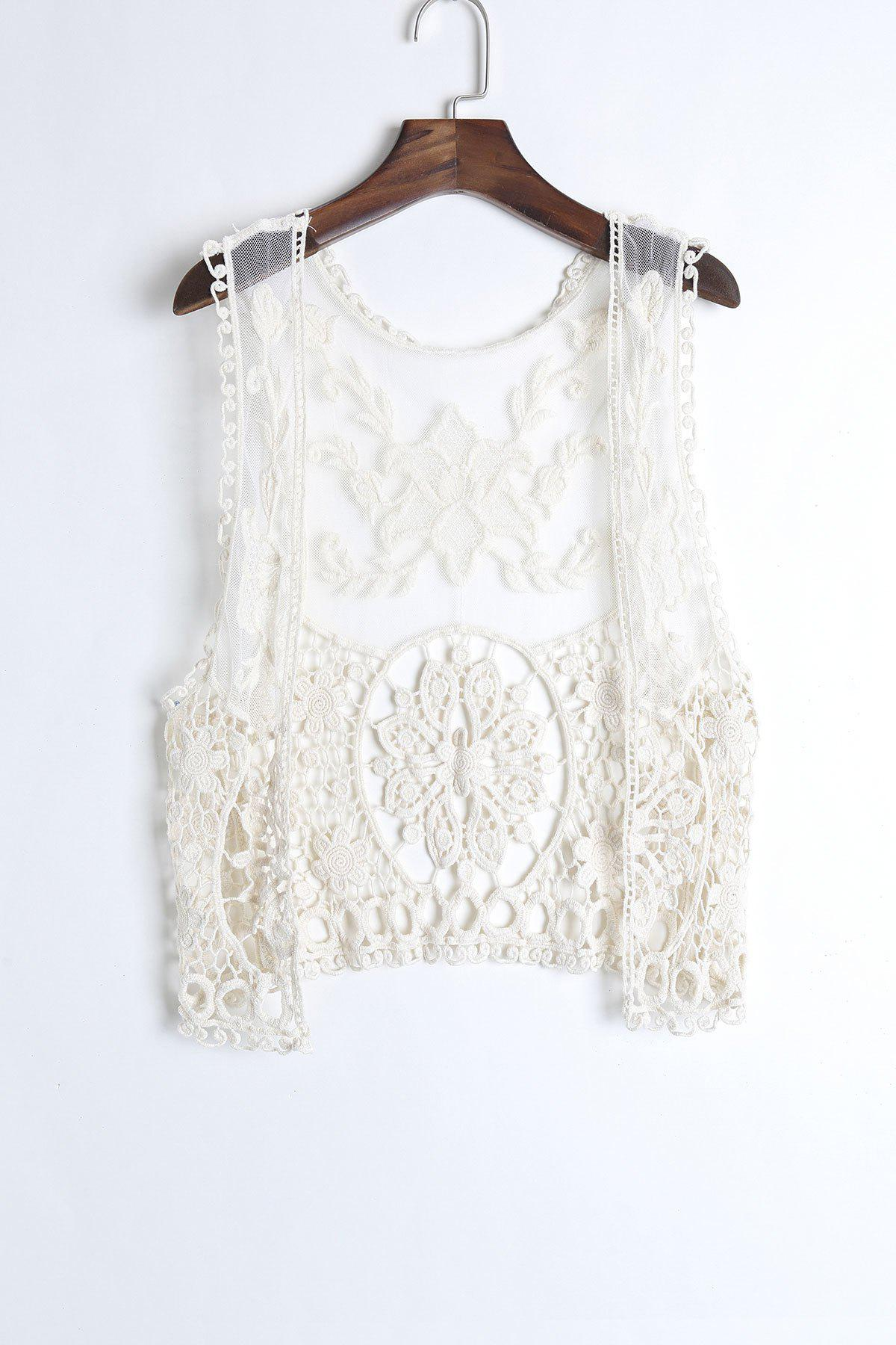 Bohemian Embroidered Sleeveless Solid Color Women's Tank Top - ONE SIZE(FIT SIZE XS TO M) OFF WHITE