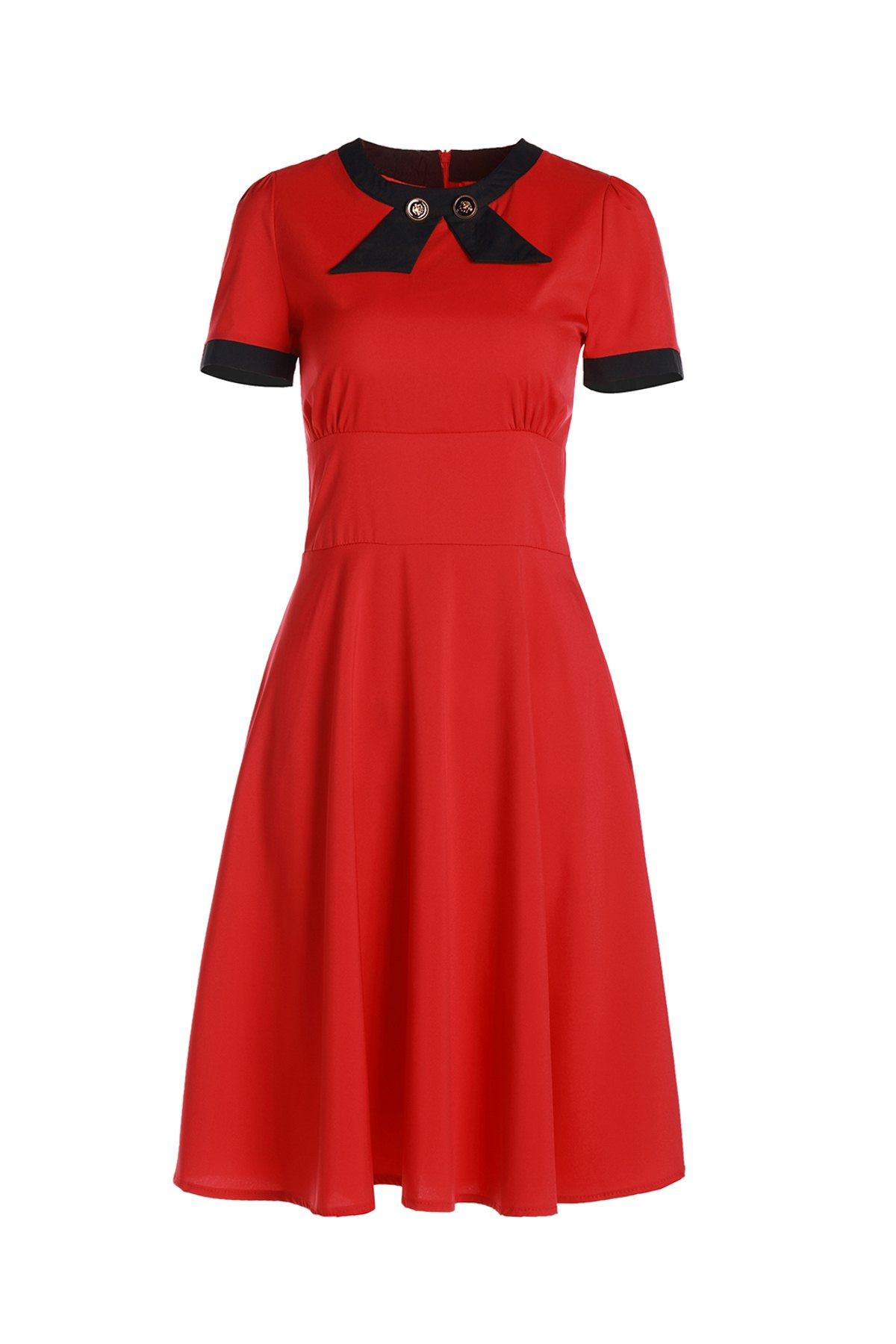 Vintage Short Sleeve Women's Round Neck Button Embellished Dress - RED M