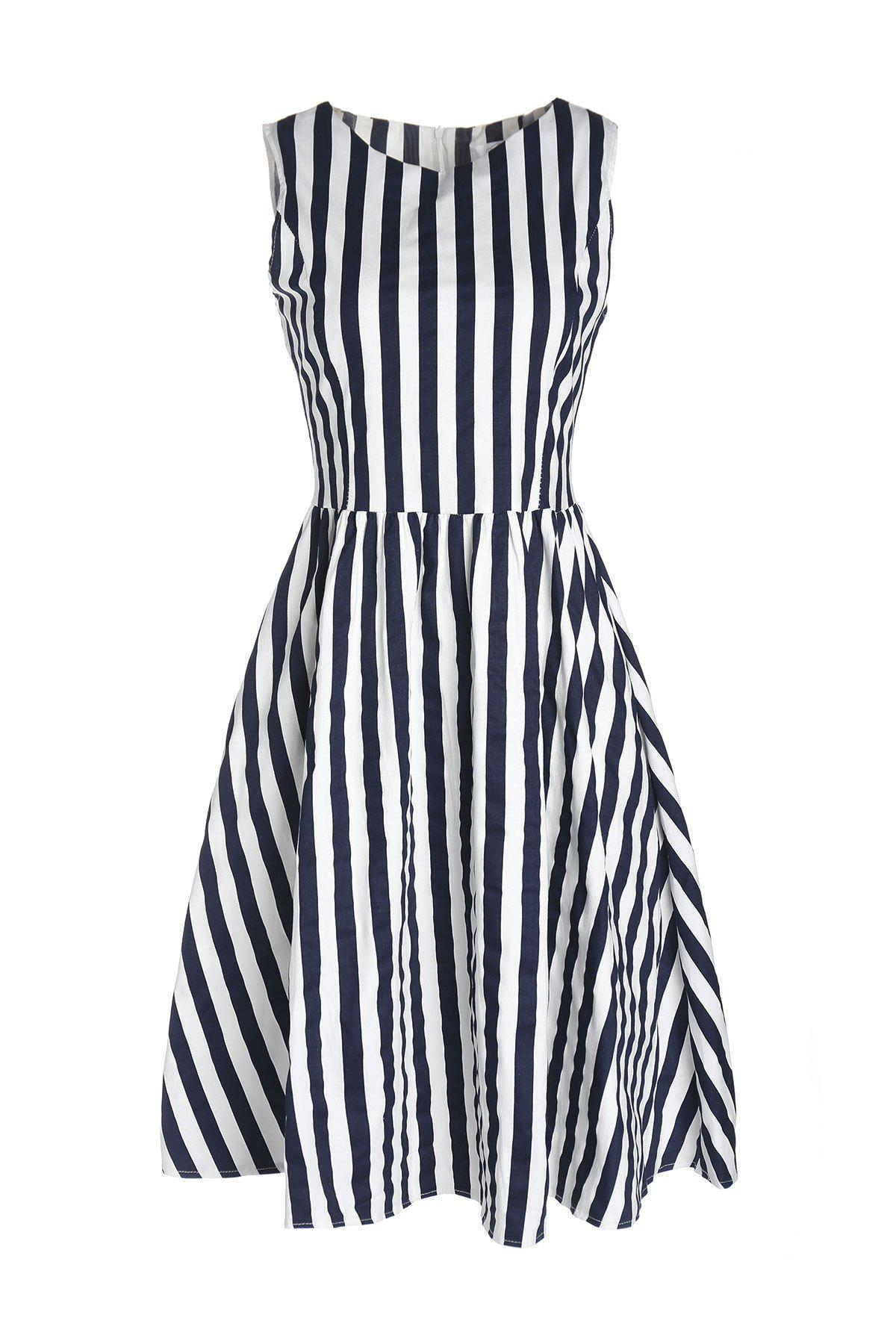 Retro Style Boat Neck Sleeveless Striped Ball Gown Women's Dress - BLUE/WHITE M