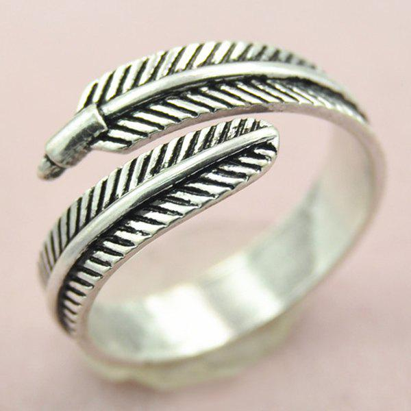Simple Embossed Feather Opening Ring For Women