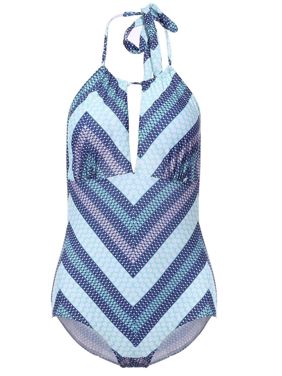 Sexy Halter Cut Out Backless Chevron One-Piece Swimwear For Women - LIGHT BLUE L