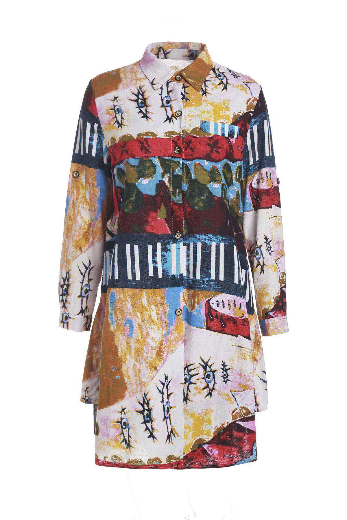 Vintage Style Shirt Collar Long Sleeve Loose-Fitting Colorful Print Women's Shirt